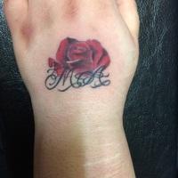 左手 甲 バラ 薔薇 アルファベット